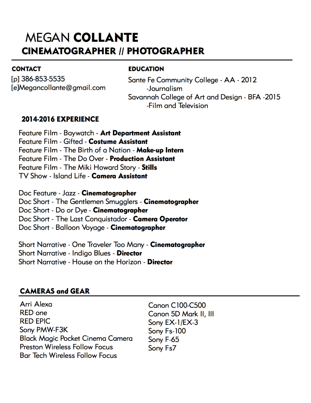 Resume For Film Student