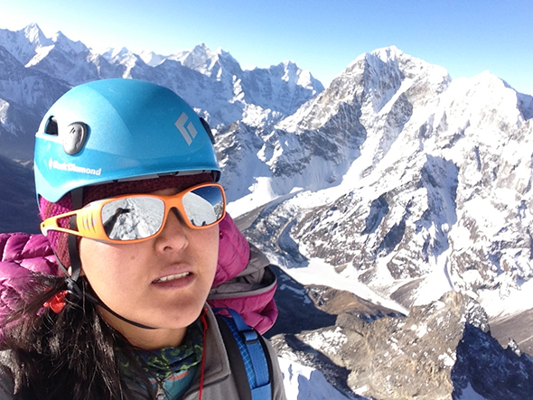 Pasang snapped this selfie while climbing Lobuche Peak in Nepal in 2013; Photograph by Pasang Lhamu Sherpa Akita. National Geographic Post.