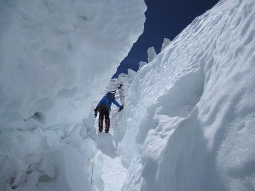 Oh, just another day, scaling snowbanks (Photo: Georgina Miranda)