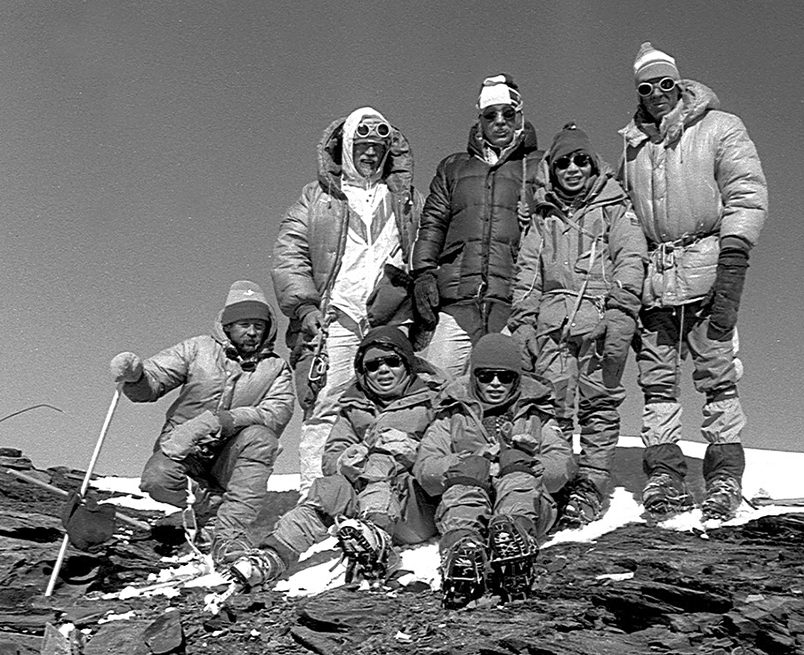 Tabei, standing second from right, atop Ismail Somoni Peak (the tallest in Tajikistan) in 1985. Source: Jaan Künnap via Wikimedia Commons