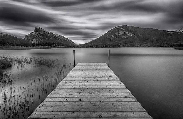 Peaceful #beautiful #Banff #alberta #lalke #mountains #canadianrockies #canada #nikon #sky #b&w #jonathantucker #landscape #nature #travel #traveling #photographer