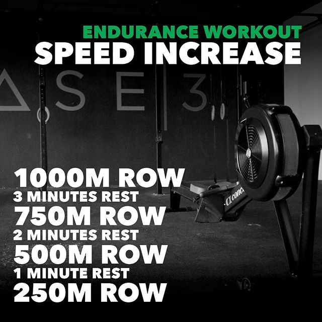ENDURANCE WORKOUT Endurance workout number four sits you back on the concept 2 rower. Four decreasing distance intervals. These intervals shouldn't be slow, you should try pushing from the start, but make sure you leave enough in the tank for the next interval. Make sure the stroke rate and speed increase each interval with a fast 250m to finish. Get after it and let us know how you get on. • • • #base3 #fitness #lifestyle #community #rowing #conditioning #endurance #workout #hard #work #concept2 #mydubai #fitnessdubai #uae #base3dxb