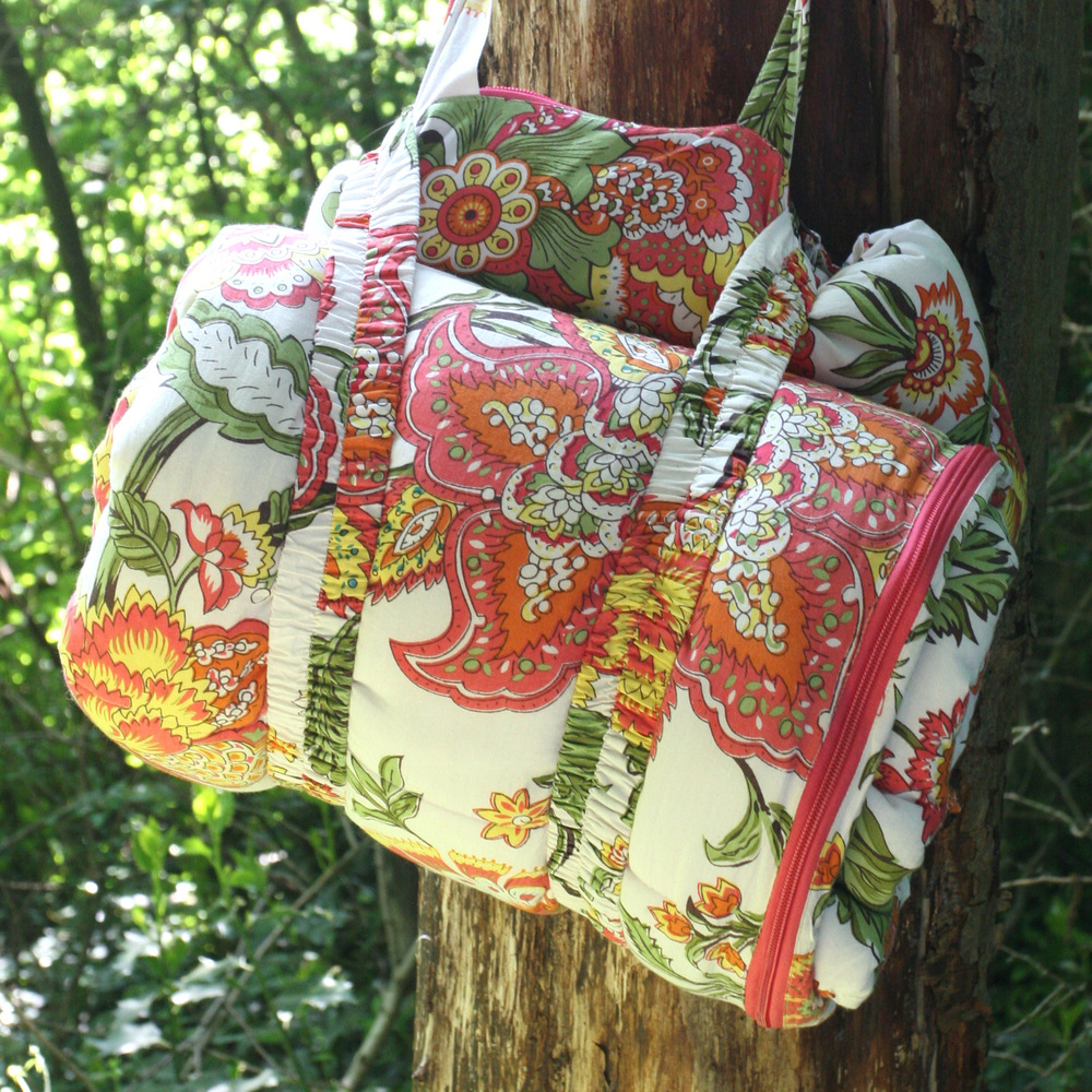Wild Floral sleeping bag rolls into a bag