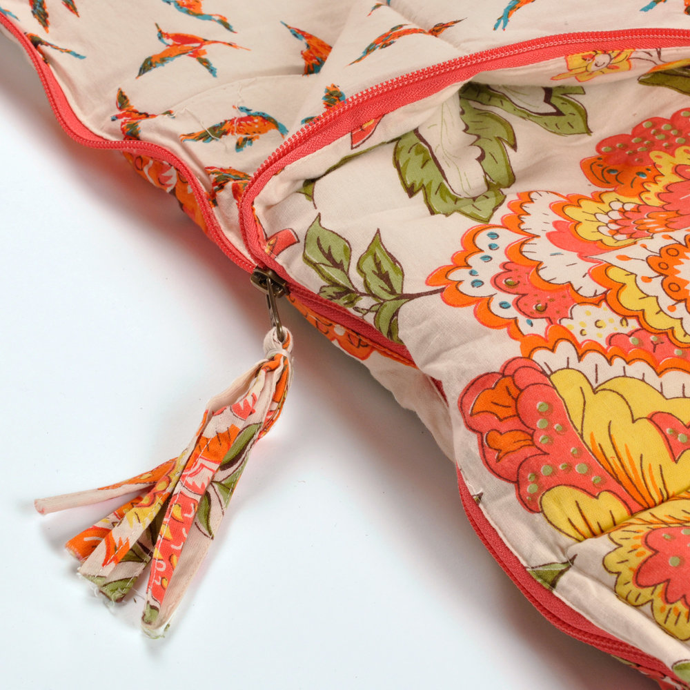 Wild Floral sleeping bag with tassle zip
