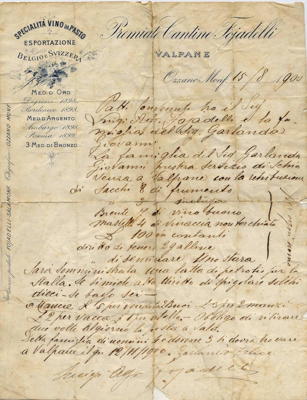 Un contratto redatto a Valpane nel 1900