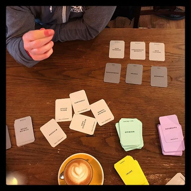 Coffee, cards & conversation. Great way to start planning a #contentstrategy (thanks to @sliceofsunny for the shot)