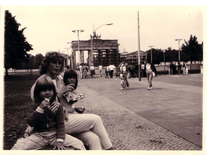 That's me (front) with my mum Ilona and my sister Susan in front of the Brandenburger Gate, East Berlin, 1988 (excuse my haircut, haha).