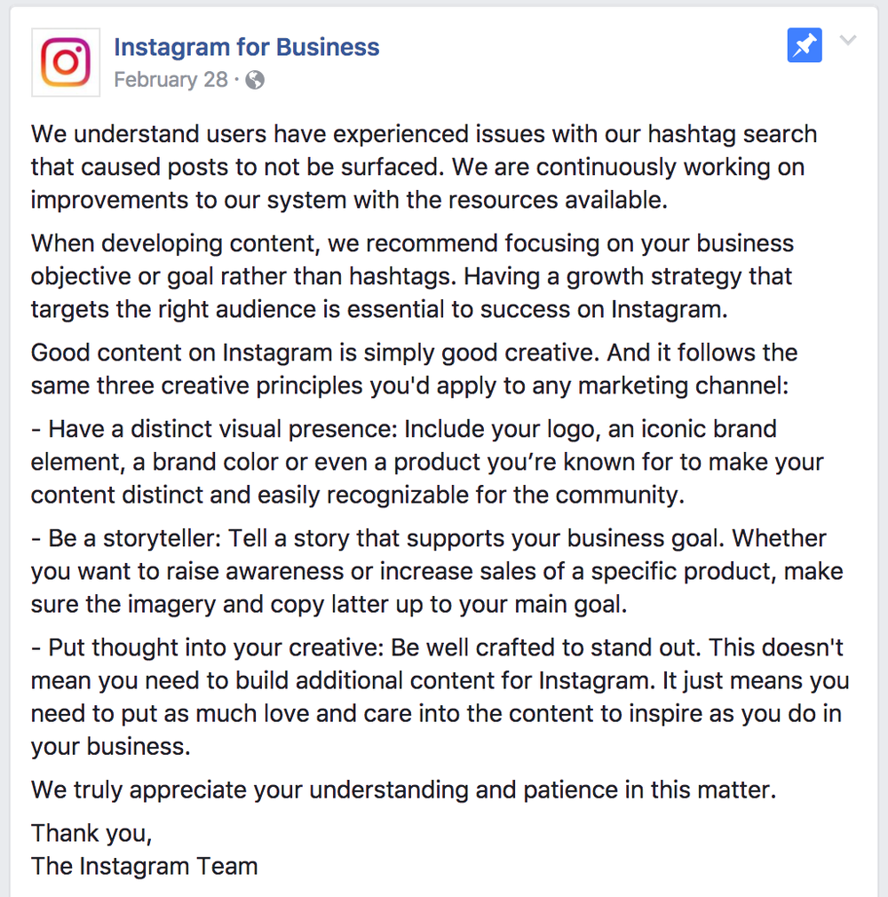 Why you can't rely on hashtags alone anymore to grow your brand',  Instagram's statement