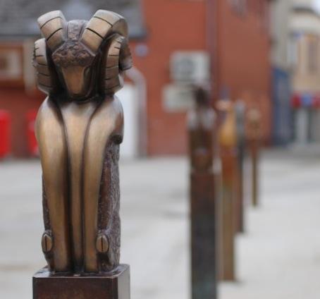 ANIMALS TO MARKET BRIDGEND  6 cast bronze sculptural animals