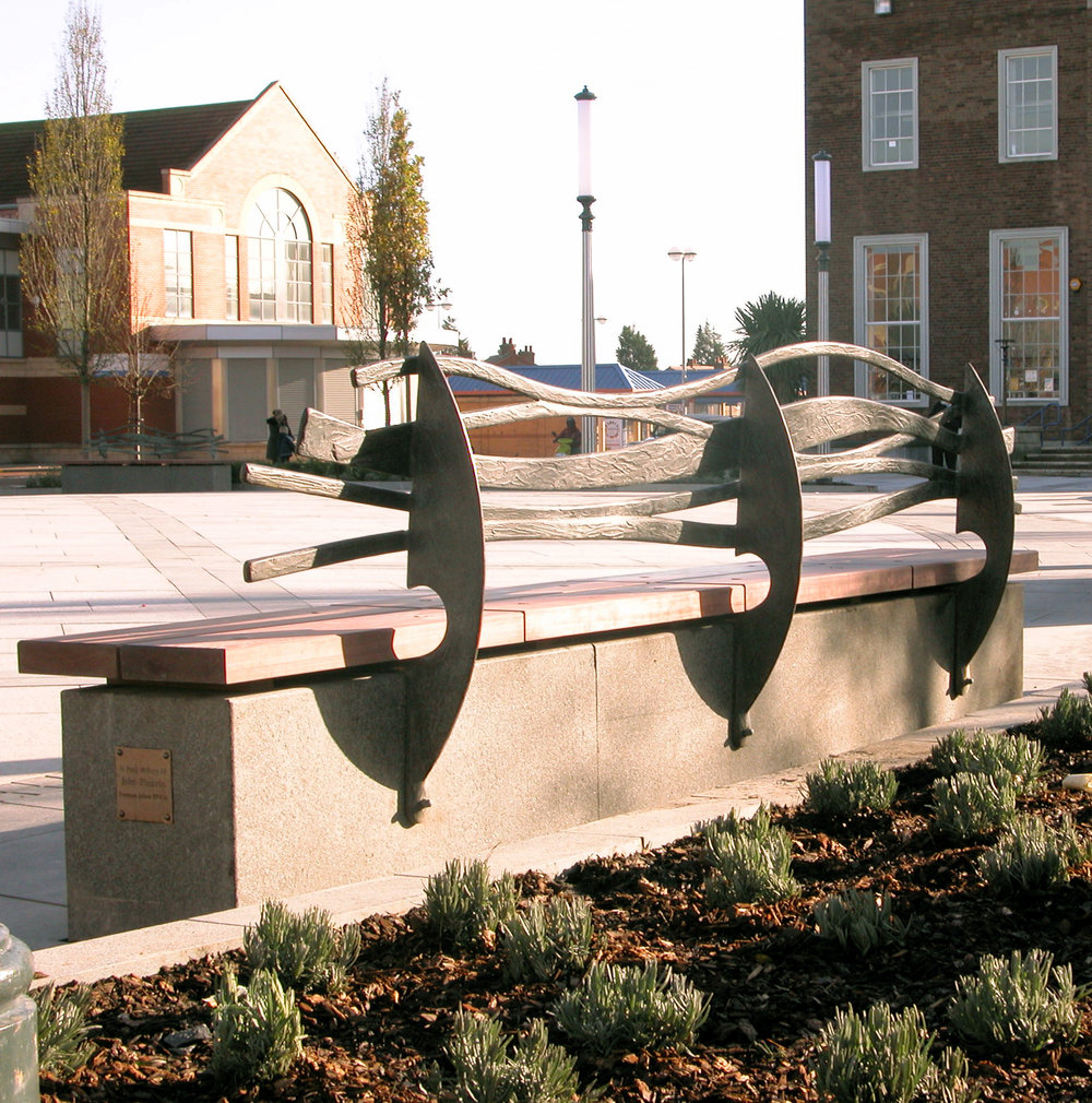 Ellesmere Port-Civic Seat     Bespoke bronze and timber bench