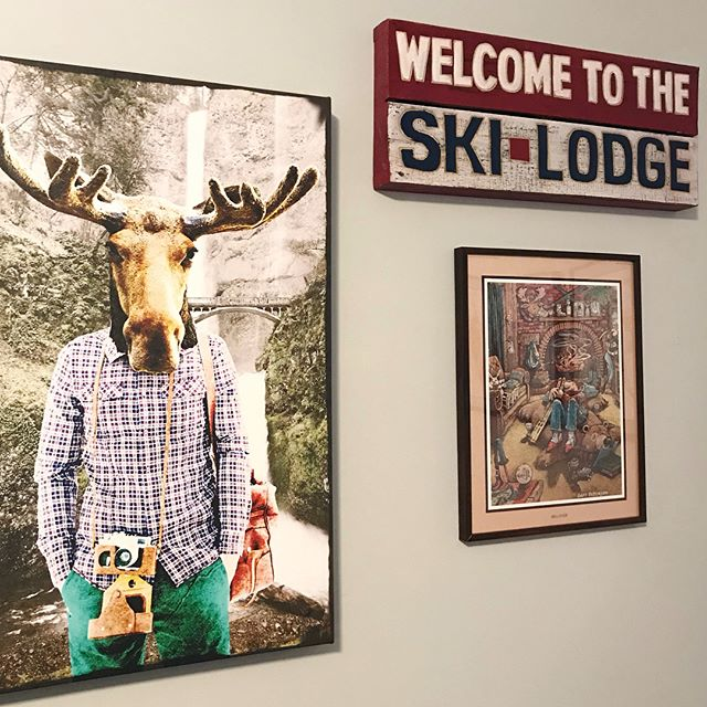 Fun art at the ski house. The ski cabin illustration is by Gary Patterson -so funny!