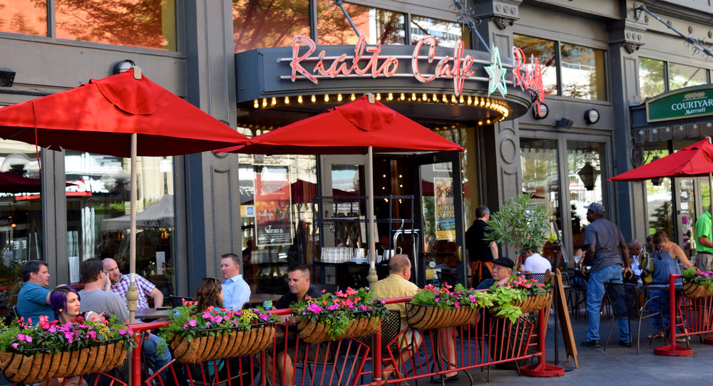 Rialto Cafe's Patio with Outdoor Dining on Denver's 16th Street Mall