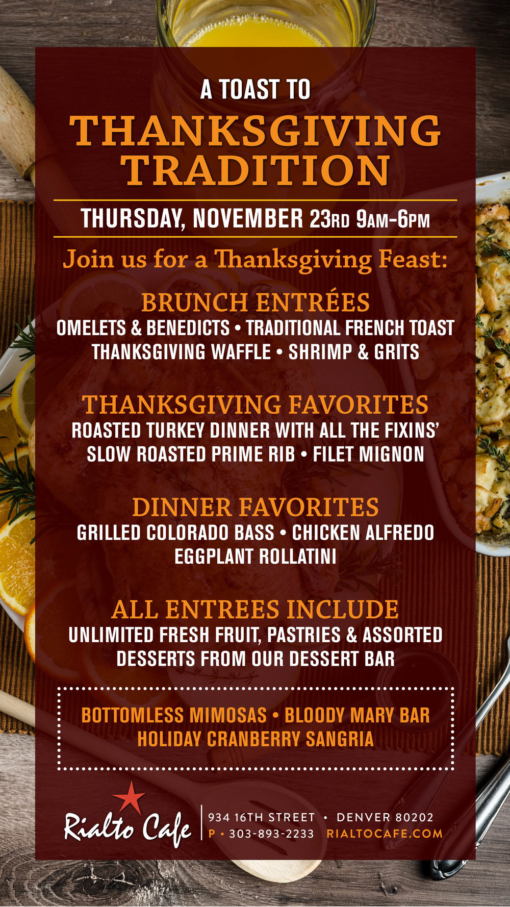 A toast to Thanksgiving Tradition at Rialto Cafe
