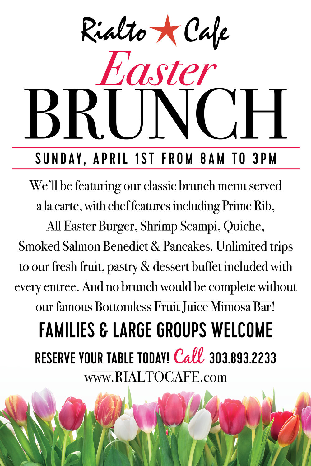 Join Us For Easter - Check out our menu below and make reservations by calling 303-893-2233.