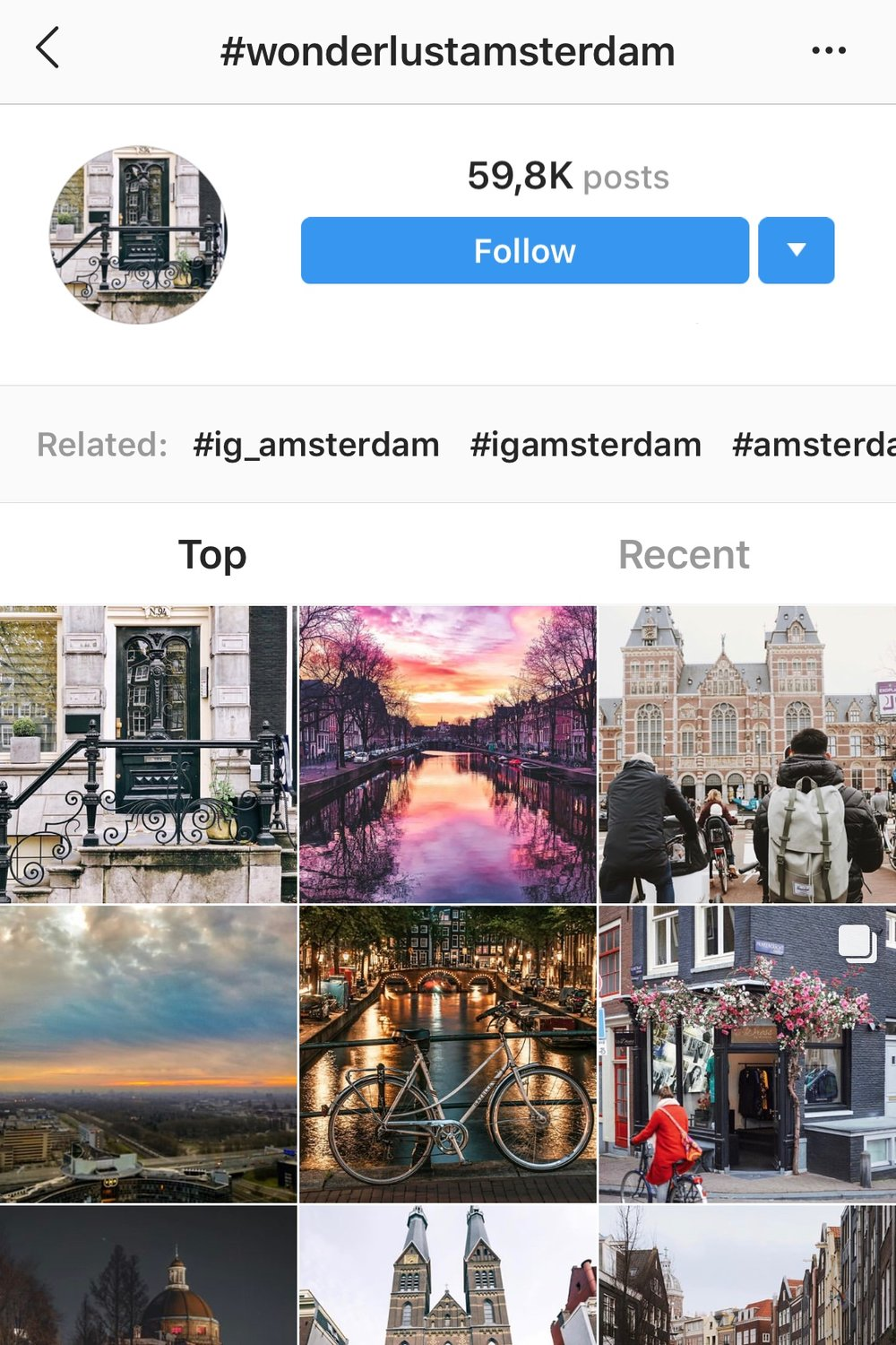 Clicking on a hashtag on Instagram opens a page not too much unlike a profile. From there, you can follow a hashtag like you're following a user.
