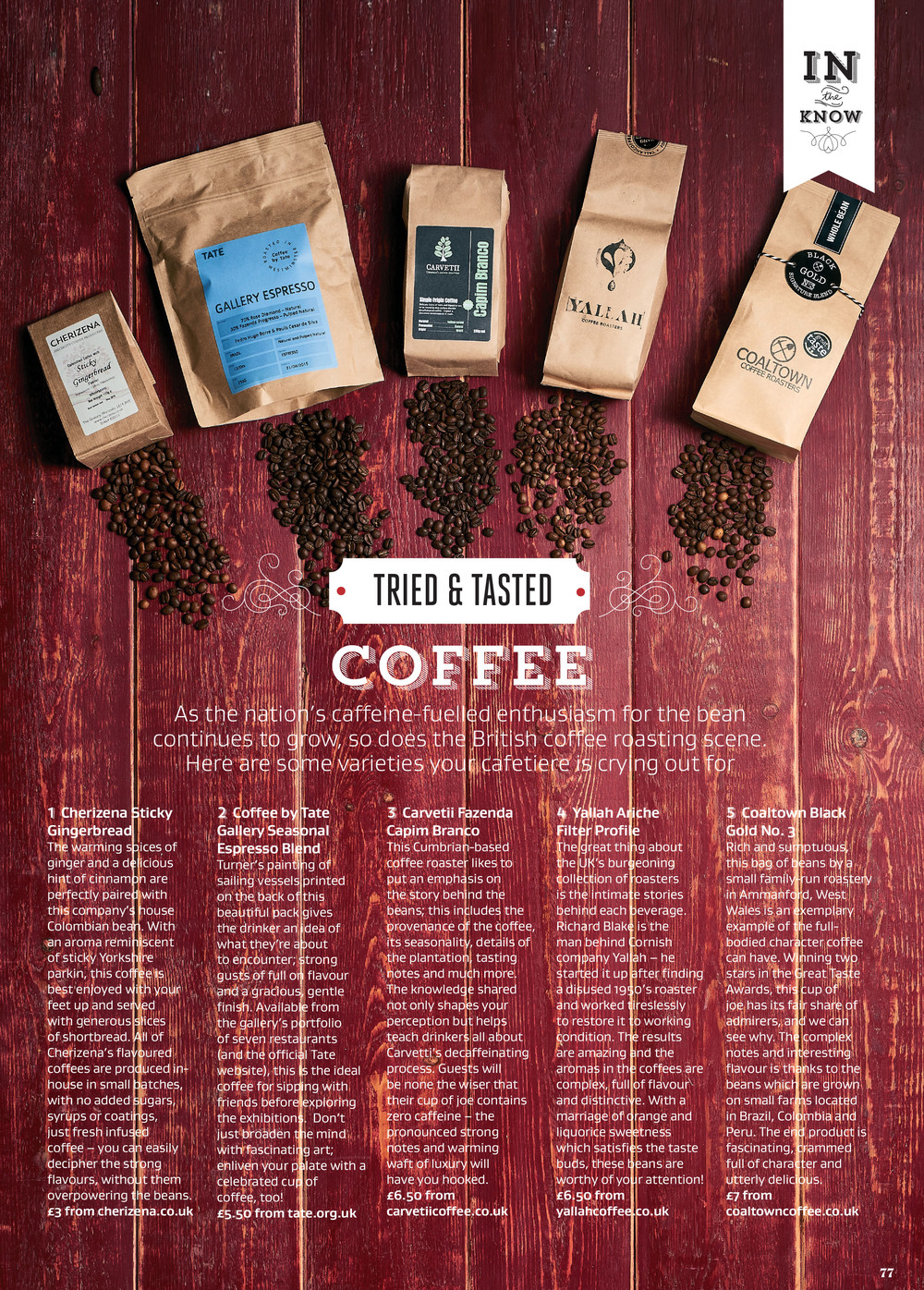 Review of coffee by British roasters in Great British Food