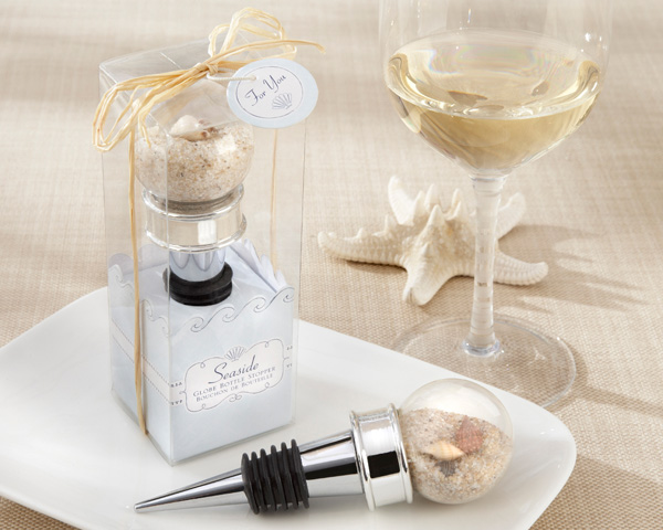 Why I love it:  It's so sophisticated. Everyone thinks of relaxed and casual atmospheres when they go to beach weddings. But you can kick it up a notch with elegant Bottle Stoppers that guests can use on their next night-in.