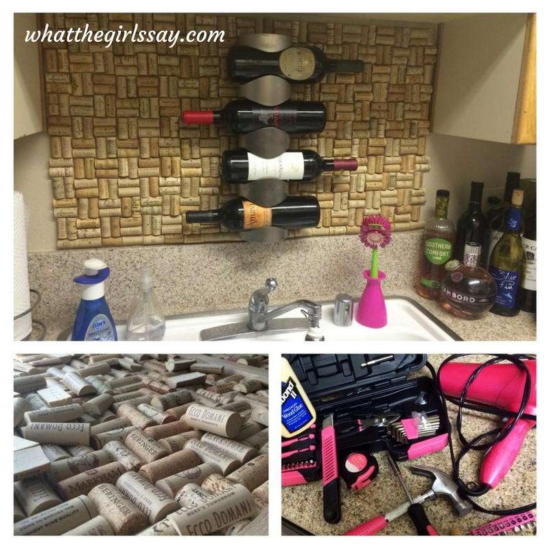 wine cork backsplash d i y whatthegirlssay