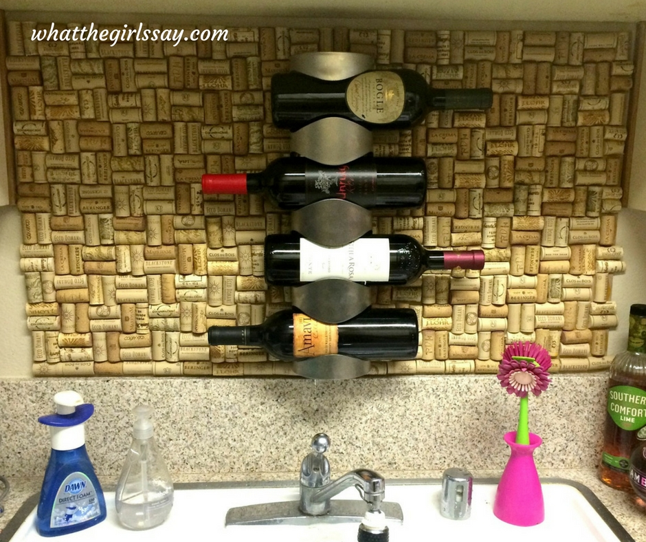 D.I.Y. Wine Cork Backsplash- whatthegirlssay.com