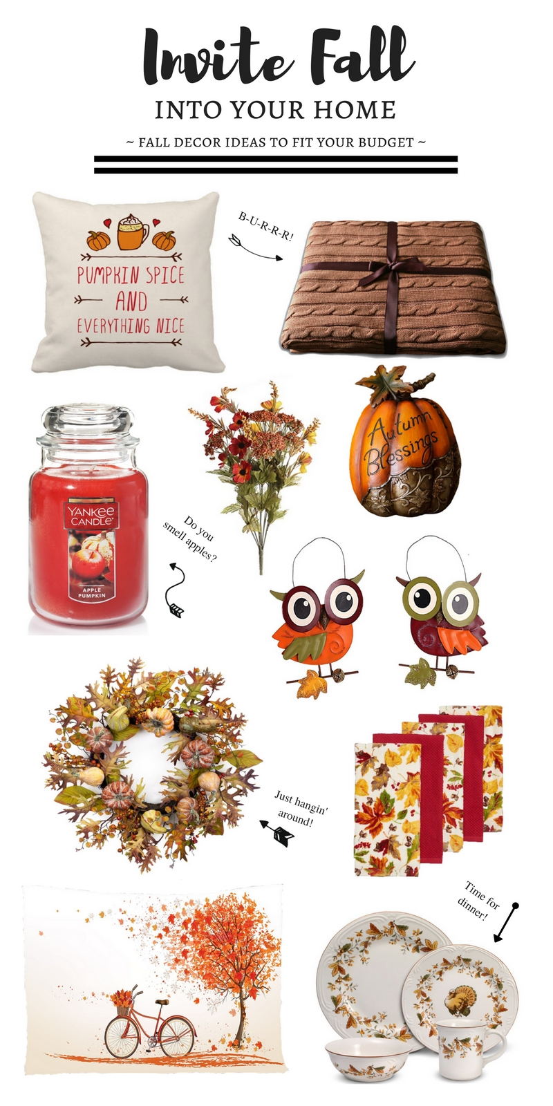 Fall Decor Ideas on a Budget - Fall decorations don't have to be expensive and break the bank.  Here are some great ideas for cute fall decorations that will help you get into the season.