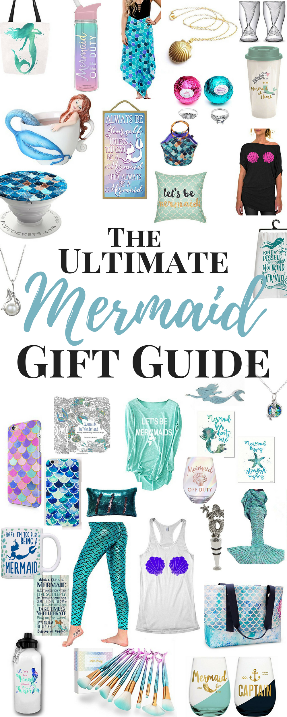 Mermaid Gifts - Here are some great Mermaid Gift Ideas for the Mermaid Lover on your list.  and these are also Mermaid gifts for adults! Bring these awesome Mermaid Gifts to your next Mermaid Party!