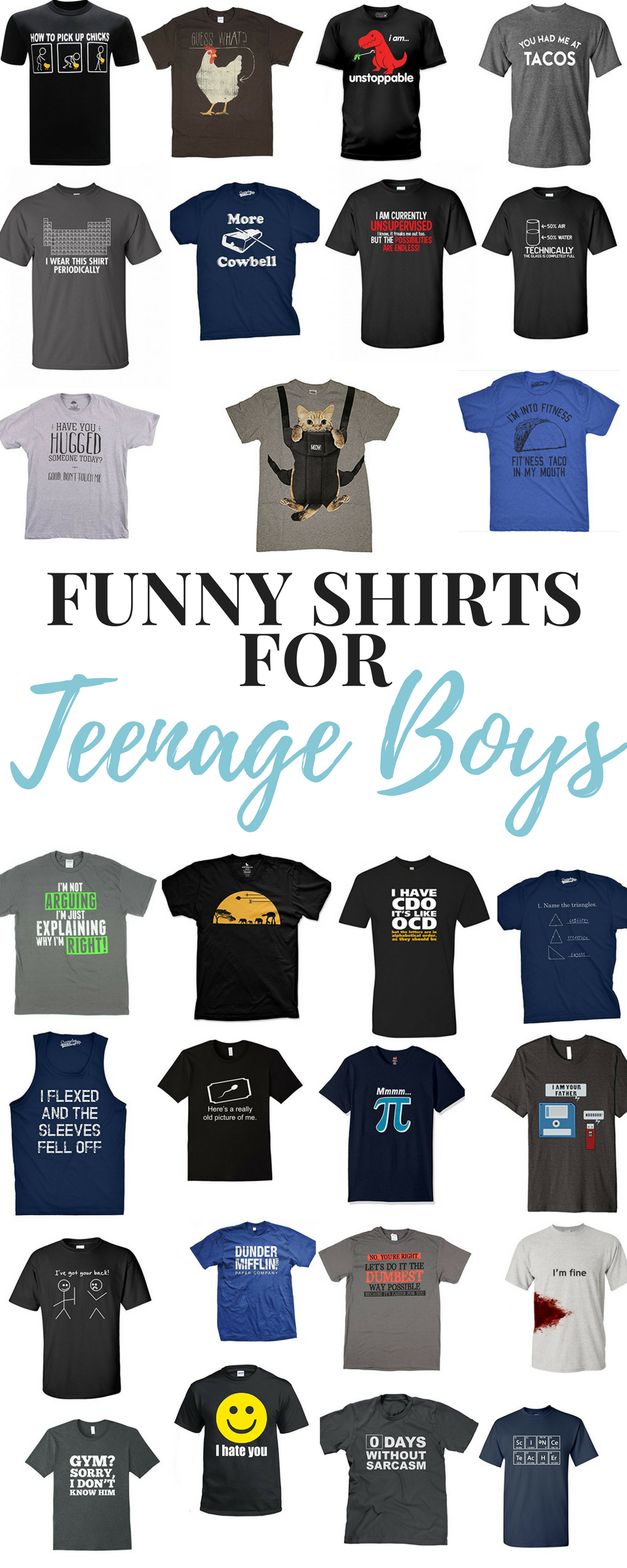 Funny T-shirts for Teens - Gifts for Teenage Boys - it's always a good present to buy a funny shirt for the teen on your list.  Here are some great ones to get your ideas going. Whether you are looking for what to buy a teenage boy, or what to buy the man on your list...a funny t is a safe bet!