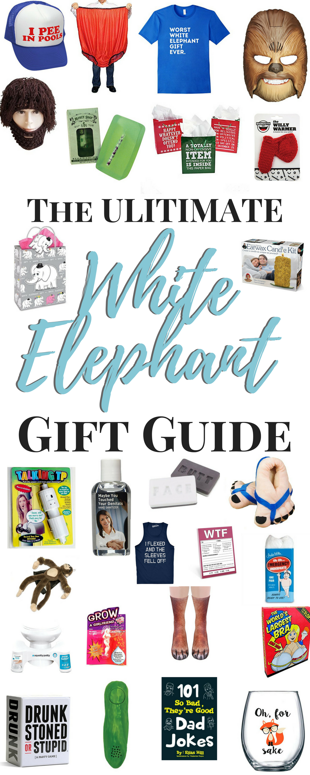 The Ultimate White Elephant Gift Guide. #whiteelephant #giftideas Looking for an awesome White Elephant Gift Ideas for your White Elephant Exchange?  Here are some great White Elephant Gift Exchange Ideas FUNNY for your next White Elephant Gift Party.
