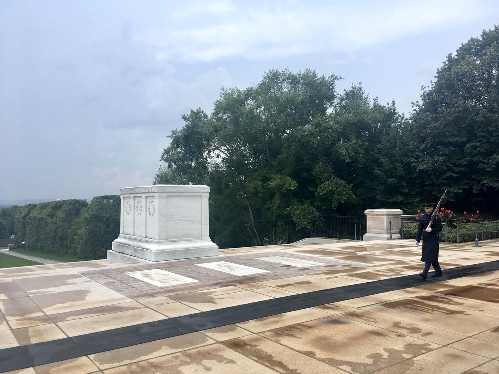 Tomb of the Unknown Soldier and Changing of the Guard in the Rain