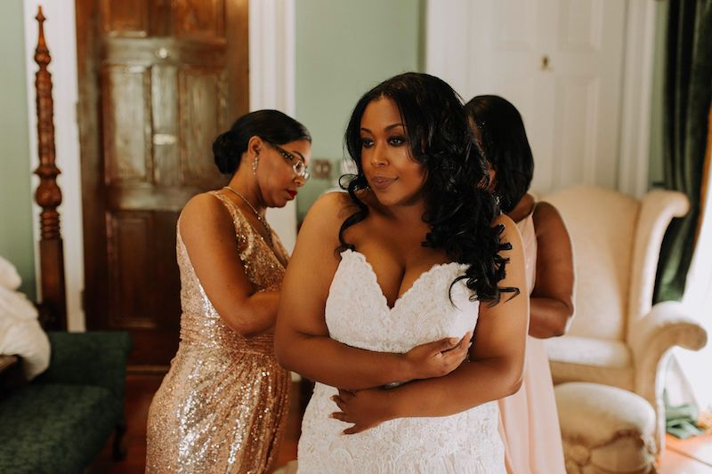Bride getting ready for her wedding- Southern Elegance Wedding