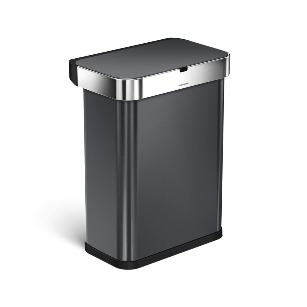 "simplehuman sensor trash can - We've found an awesome smart trash can that will make wish you've always had this one. This simple human can is voice and motion sensored for easy use. All you have to do is say ""open can"", and the lid will open for you, no matter how far away you are. It's also motion sensored, so you can wave your hand over the lid, and it will open. There are also no false opens, when someone passes by…and the lid won't just close on you, if you're standing in front of the trash can too long. It has a sensor that knows you're still using the can, and won't close until you walk away. The lid has a quiet motor, so no worries about a noisy trash can. But the sensor is just the cherry on top for this can. Inside, there is a pocket built right in, to store your liners. The lid also has a hide away cover, so you won't even see your trash bag liner from the outside, giving it a nice clean look. This can comes in 5 different colors to match your kitchen. This black stainless steel fit perfectly in our house. It also has An invisible nano-silver clear coat"" so there's protection from finger prints and germs. It runs of batteries or you can plug it right in. Simplehuman also has a 5 year warranty, so you can rest easy that it's going to last. Best trash can we've even owned!"