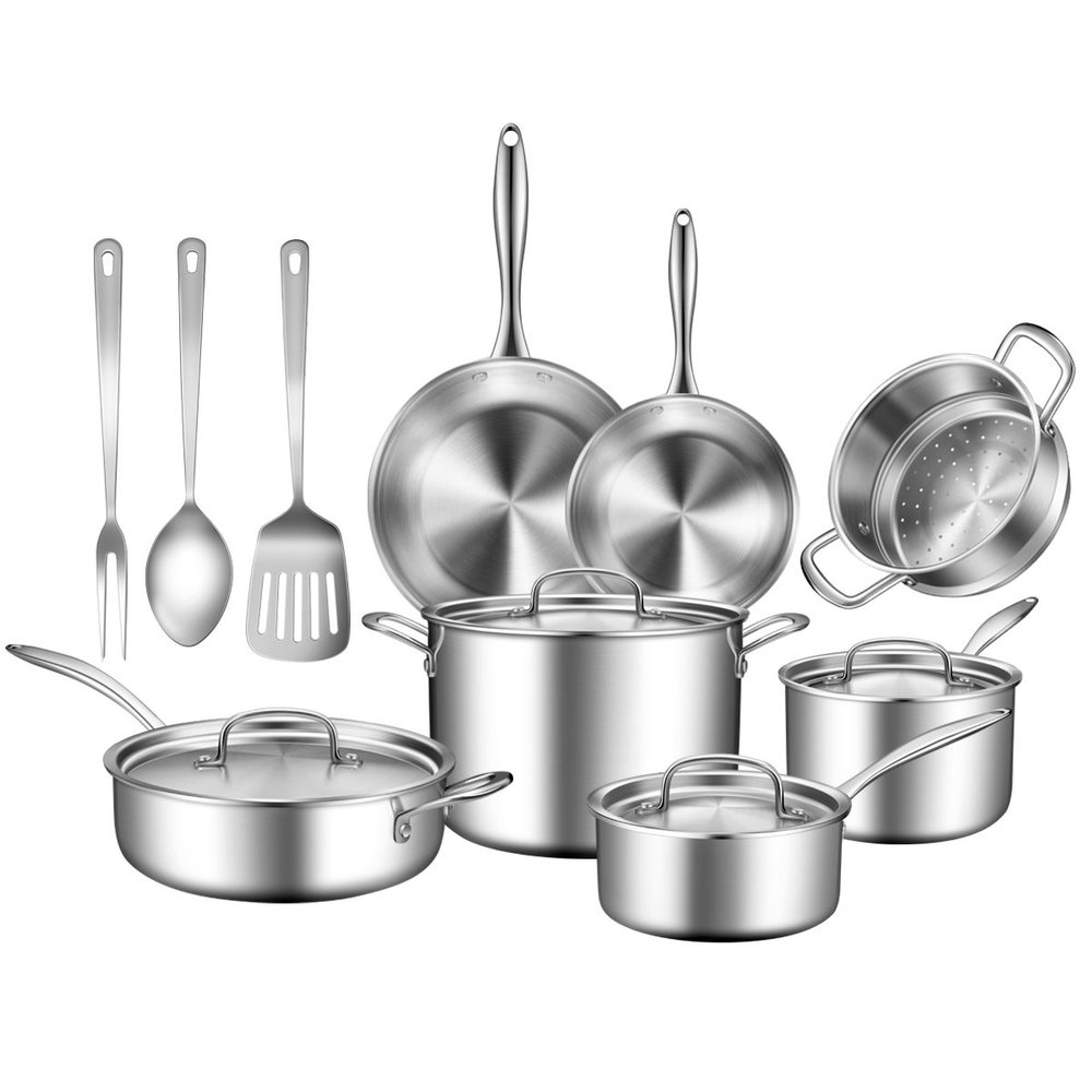 "14PC STAINLESS STEEL COOKWARE SET - TOBOX - We just moved and were in desperate need of a nice cookware set. So we were so excited to learn about the company ToBox. ToBox is a company that sells high quality products for a fraction of the price. They say, ""we cut out brands and middlemen to bring you products at up to 40% less than traditional retailers."" They find the best materials and the best factories to produce their products, which are the same factories that product big named products too, but ToBox sells their items for way less. When we saw this 14 piece cookware set made of stainless steel, we knew we were getting a great deal. It comes with a 3 piece utensil set, 4 different pots with lids for each, 2 pans and a colander. These pots and pans can be used on the stove and in the oven as well. ToBox also offer lots of great kitchen gadgets, appliances and more, so be sure to check out their whole line."