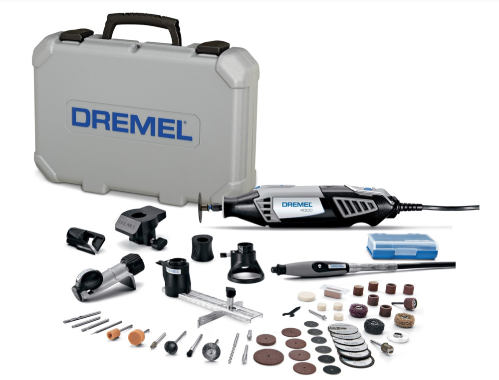DRemel 4000 6/50 with accessories - If you don't have a Dremel, you're going to want this Dremel 4000 6/50 kit. The main tool is the corded Dremel, which is compatible with all Dremel accessories and attachments. And this kit comes with over 50 Dremel accessories and 2 Dremel attachments to help you with all you crafting, building, and workmanship needs. It also comes with a storage case, so you can keep all your parts organized for whenever and wherever you will need it. You can use this Dremel toolkit to help with all your cutting, carving, engraving, cleaning, polishing, sanding, grinding, sharpening, and so much more.The Dremel kit is an all-in-one tool kit that allows you to do so much with just this one tool. If you need different attachments from Dremel, they are all compatible, so you can make this Dremel 4000 work for you in any capacity you will need. It comes with a speed dial so it can go slow or fast (speeds from 5,000 to 35,000 RPM) for whatever project you need. Get him the tool you know he'll use over and over again!