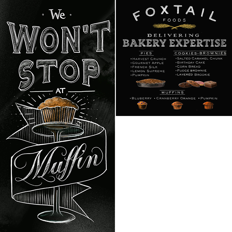 - Trade show panelsHand lettering & chalk illustrations of baked goods by Evelyn Pence for ©Foxtail Foods