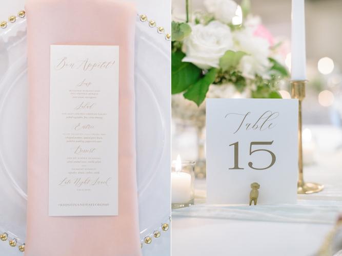 Kelowna Wedding Reception Inspiration Menu Table Number Candles Charger Napkin Blush White Pretty Love.jpg