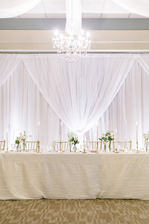 Spirit Ridge Kelowna BC Summer Wedding Reception Inspiration Head Table White Draping Pretty Wedding Planner.jpg