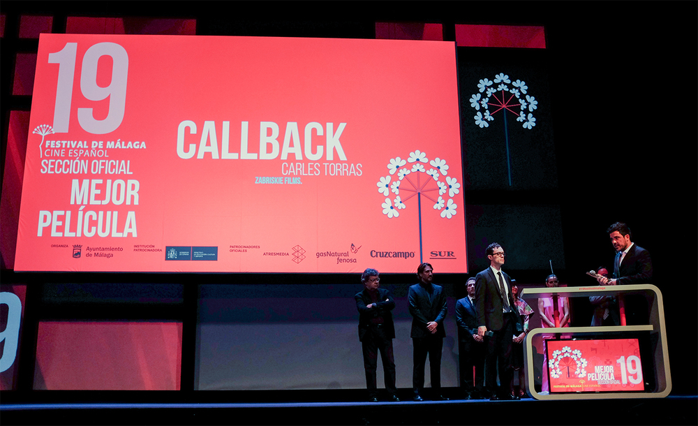 Members of the cast and crew of 'Callback' collect the Golden Biznaga Award for Best Film - Teatro Cervantes, Málaga, Spain