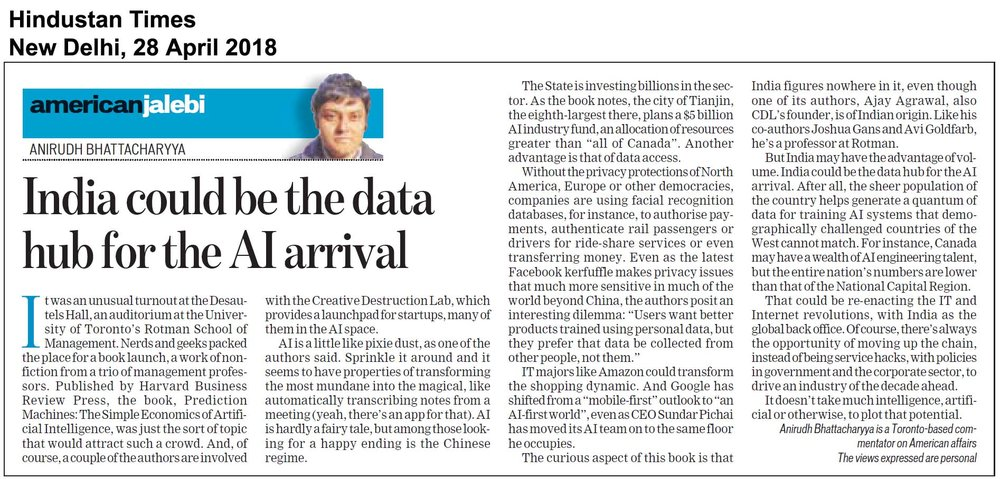 Prediction Machines, Hindustan  Times, New Delhi, Apr2818.jpg