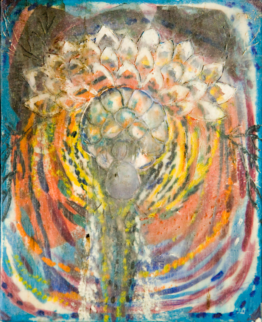 Little Buddha, encaustic, 2002