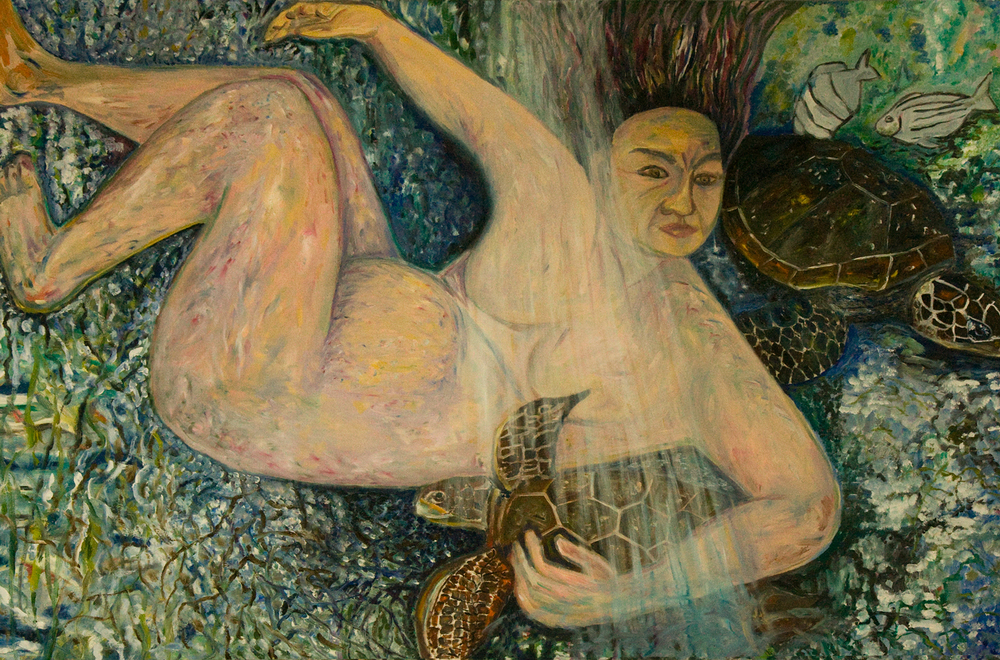 Old Woman with Turtles, oil, 2002
