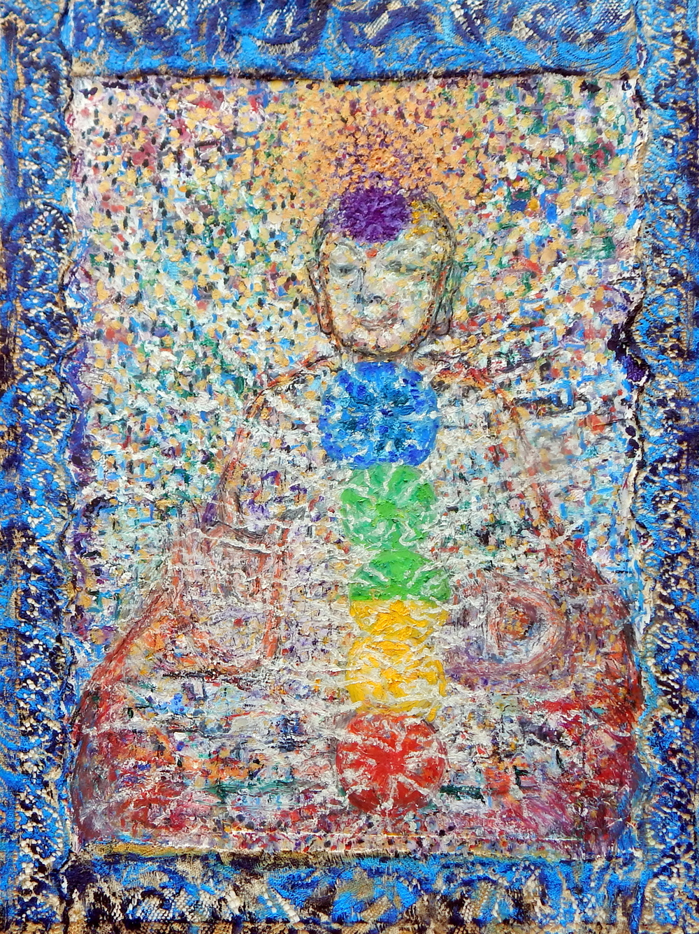 Google Guan Yin, oil, oil pastel, mixed media, 2016