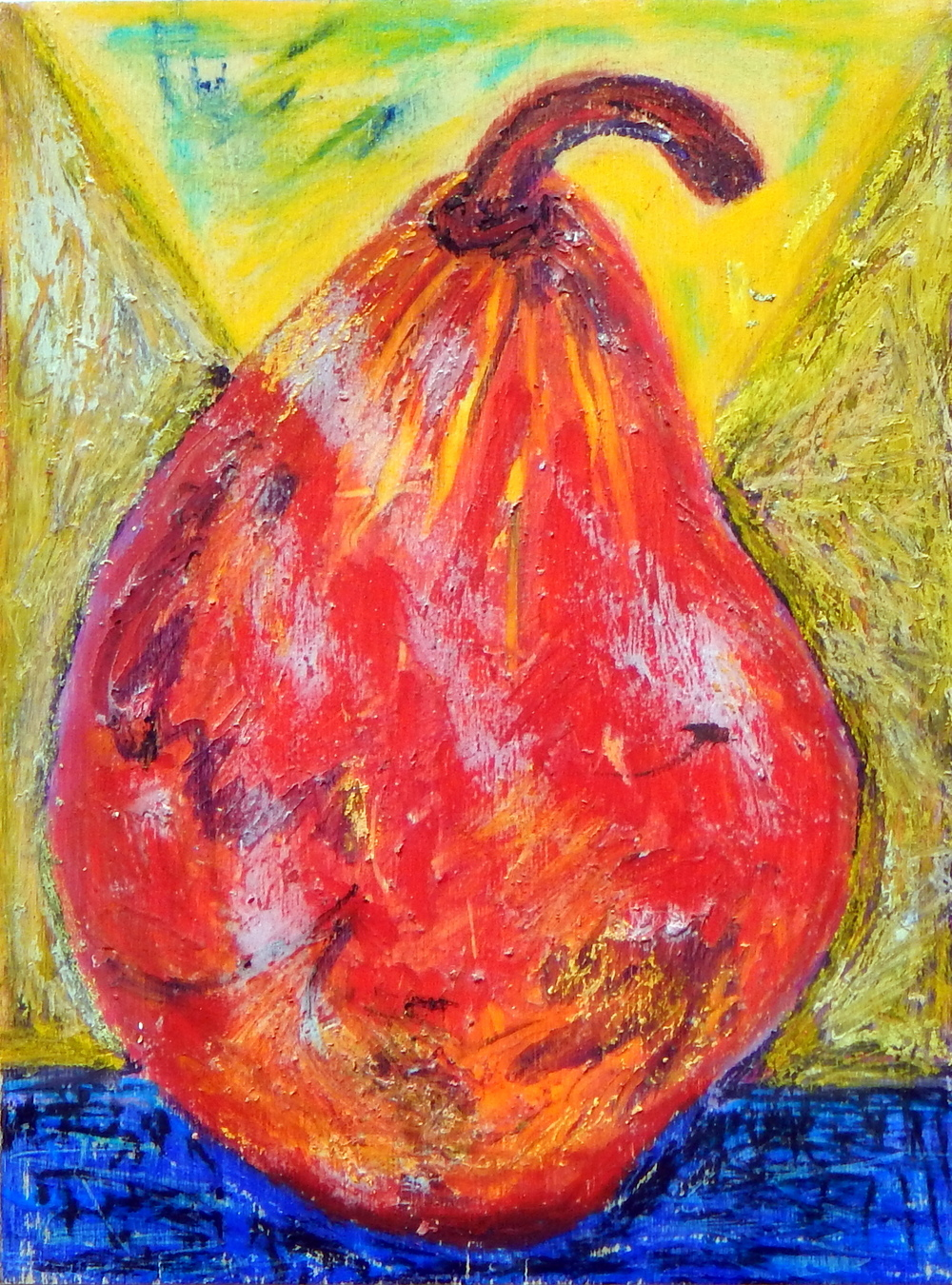 Pears series, oil pastel, oil, 2012