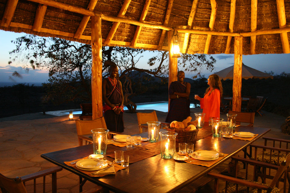 Kanzi House swimming pool evening dining