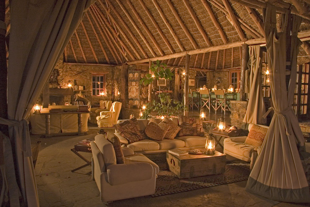 Tembo House lounge/dining at night