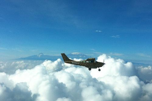 Luca's plane LLJ in front of Kilimanjaro, Campi ya Kanzi, Kenya