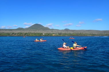 Kayaking past Floreana Lava Lodge, Floreana Island