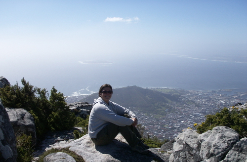 over looking robben island getting perspective on Table mountain, Cape Town
