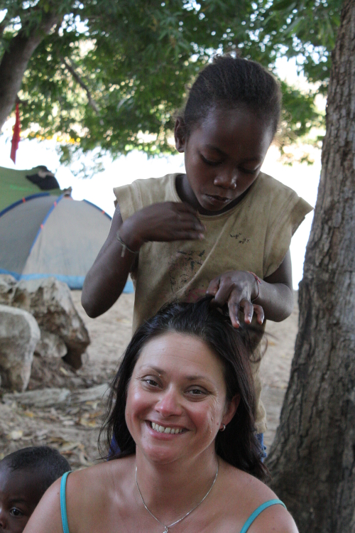 the girls in madagascar love to plait my long straight hair!
