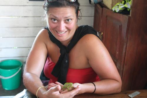 Vicky (karma) chameleon: Red, gold (bangle) & green (chameleon) in madagascar