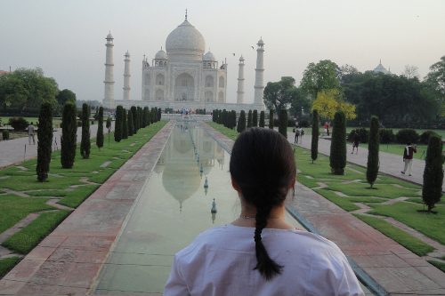 At the Taj Mahal, agra, india - it really is the most beautiful place