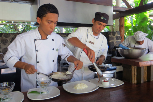 Jicaro Island Ecolodge open kitchen chef team